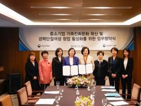 중소기업 가족친화문화 확산 및 경력단절여성의 창업 활성화를 위한 업무협약식